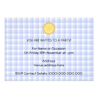 Custard Pie Yellow Tart with Blue Gingham Personalized Announcements