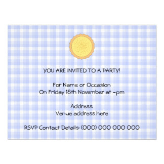 Custard Pie Yellow Tart with Blue Gingham Announcements
