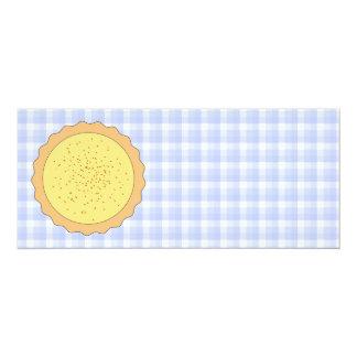 Custard Pie. Yellow Tart, with Blue Gingham. 4x9.25 Paper Invitation Card