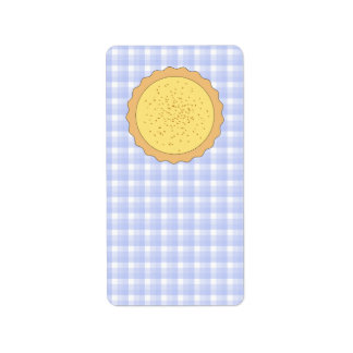 Custard Pie. Yellow Tart, with Blue Gingham. Address Label