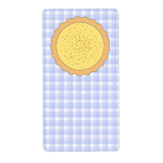 Custard Pie. Yellow Tart, with Blue Gingham. Shipping Label