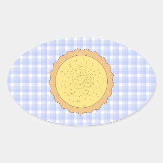 Custard Pie. Yellow Tart, with Blue Gingham. Oval Sticker