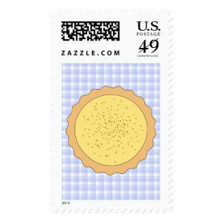Custard Pie. Yellow Tart, with Blue Gingham. Postage
