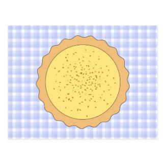 Custard Pie. Yellow Tart, with Blue Gingham. Postcard
