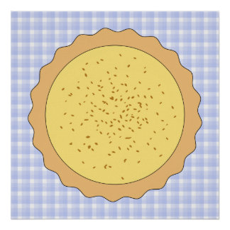 Custard Pie. Yellow Tart, with Blue Gingham. Poster