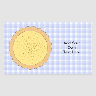 Custard Pie. Yellow Tart, with Blue Gingham. Rectangular Sticker
