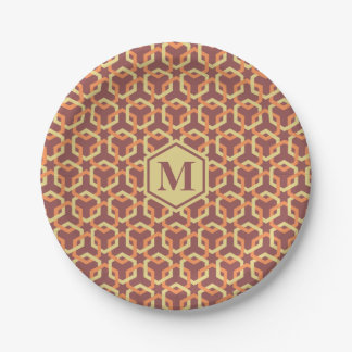 Custard Yellow and Tangerine Hexes Paper Plate 7 Inch Paper Plate