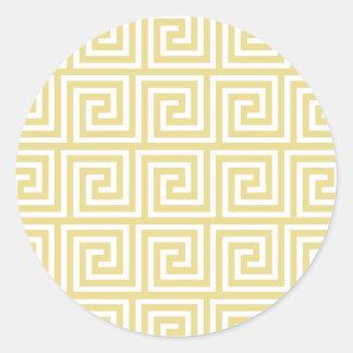 Custard Yellow and White Greek Key Pattern Classic Round Sticker