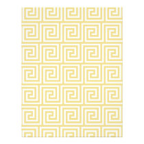 Custard Yellow and White Greek Key Pattern Flyer