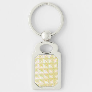 Custard Yellow and White Greek Key Pattern Keychain