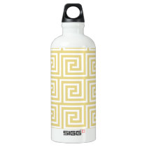 Custard Yellow and White Greek Key Pattern Water Bottle