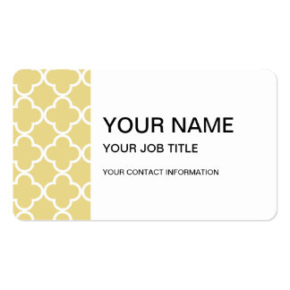 Custard Yellow and White Quatrefoil Moroccan Patte Double-Sided Standard Business Cards (Pack Of 100)