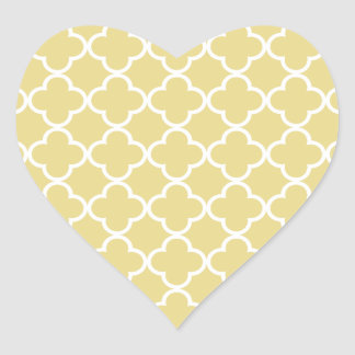 Custard Yellow and White Quatrefoil Moroccan Patte Heart Sticker