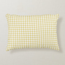 Custard Yellow Gingham Pattern Accent Pillow