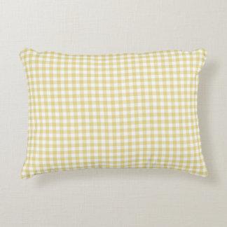 Custard Yellow Gingham Pattern Accent Pillow