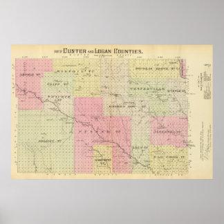 Custer and Logan County Nebraska Print