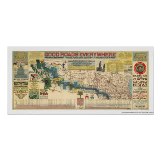 Custer Battlefield Highway Map - 1925 Posters