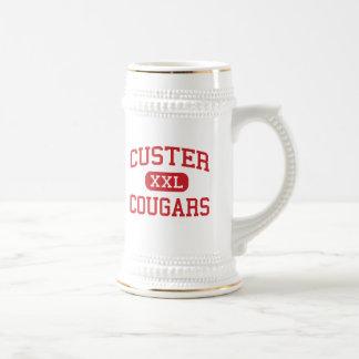 Custer - pumas - alto - Milwaukee Wisconsin Jarra De Cerveza