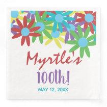 Custom 100th Birthday Floral Paper Dinner Napkins