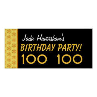 Custom 100th Birthday or Any Year Gold Stars Poster