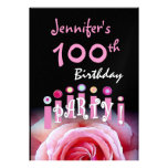 Custom 100th Birthday Party Invitation Candles Announcements