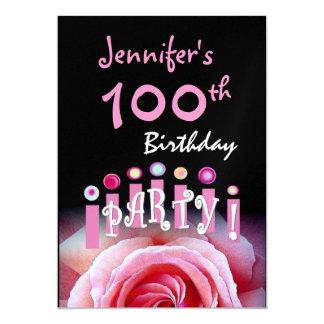Custom 100th Birthday Party Invitation Candles