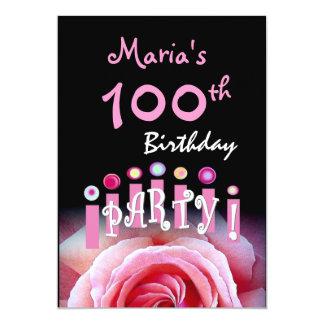"Custom 100th Birthday Party Invitation Candles 5"" X 7"" Invitation Card"