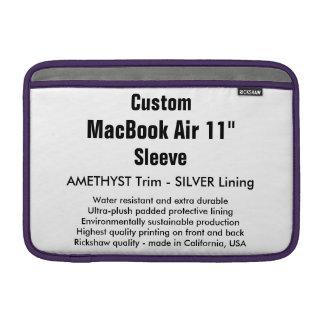 """Custom 11"""" MacBook Air Sleeve (H) Amethyst, Silver"""