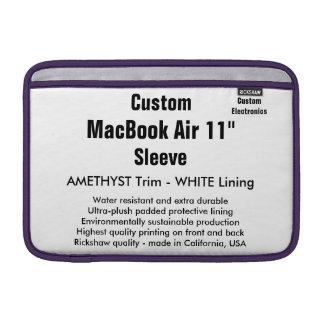 """Custom 11"""" MacBook Air Sleeve (H) Amethyst & White"""