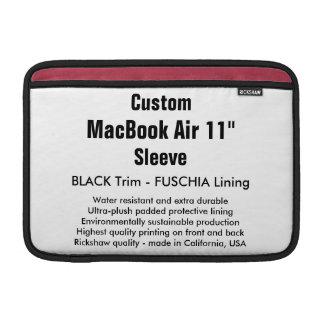 "Custom 11"" MacBook Air Sleeve (H) Black, Fuschia"