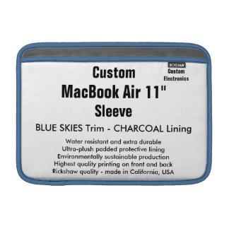 """Custom 11"""" MacBook Air Sleeve (H) Blue Skies, Gray"""