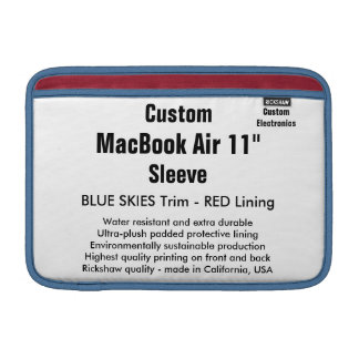 """Custom 11"""" MacBook Air Sleeve (H) Blue Skies & Red"""