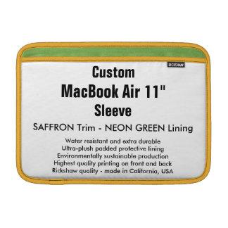"Custom 11"" MacBook Air Sleeve (H) Saffron & Green"