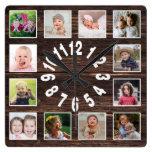 Custom 12 Family Photo Collage Rustic Farmhouse Square Wall Clock