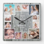Custom 12 Family Photo Collage Rustic Gray Wood Square Wall Clock