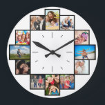 "Custom 12 Instagram Family Photo Collage Large Clock<br><div class=""desc"">Create your own personalized Instagram family photo collage wall clock with your custom images. Add your favorite photos, designs or artworks to create something really unique. To edit this design template, click"