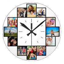 Custom 12 Instagram Family Photo Collage Large Clock