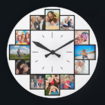 """Custom 12 Keepsake Memories Family Photo Collage Large Clock<br><div class=""""desc"""">Create your own personalized family photo collage wall clock with your custom images. Add your favorite photos, designs or artworks to create something really unique. To edit this design template, click"""