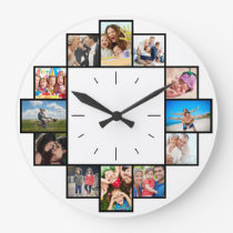 Custom 12 Keepsake Memories Family Photo Collage Large Clock
