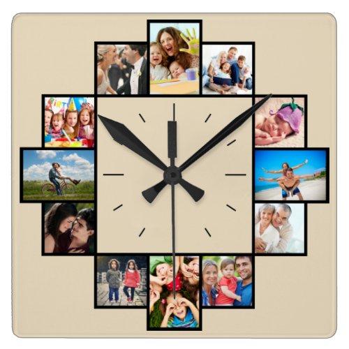 Custom 12 Keepsake Memories Family Photo Collage Square Wall Clock