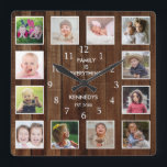 """Custom 12 Photo Collage Family Quote Pallet Wood Square Wall Clock<br><div class=""""desc"""">Create your own photo collage wall clock with 12 of your favorite pictures. The photo frame clock helps you treasure your special moments and also makes a thoughtful gift for parents, grandparents and friends. The personalized family clock makes it a perfect gift for all occasions. Personalize with family name and...</div>"""
