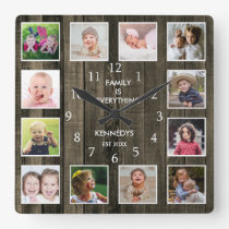 Custom 12 Photo Collage Family Quote Pallet Wood Square Wall Clock