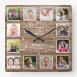 Custom 12 Photo Collage Family Quote Reclaimed Woo Square Wall Clock