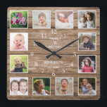 """Custom 12 Photo Collage Family Quote ReclaimedWood Square Wall Clock<br><div class=""""desc"""">Create your own photo collage wall clock with 12 of your favorite pictures. The photo frame clock helps you treasure your special moments and also makes a thoughtful gift for parents, grandparents and friends. The personalized family clock makes it a perfect gift for all occasions. Personalize with family name and...</div>"""