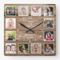 Custom 12 Photo Collage Family Quote ReclaimedWood Square Wall Clock