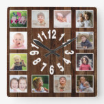 Custom 12 Photo Collage Frame Pallet Wood Square Wall Clock