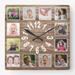 Custom 12 Photo Collage Frame Reclaimed Wood Square Wall Clock