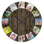 Custom 12 Photo Collage Rustic Dark Wood Round Large Clock