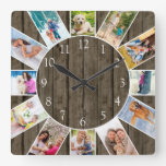 Custom 12 Photo Collage Rustic Dark Wood Square Wall Clock