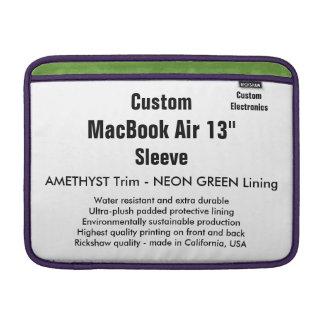 """Custom 13"""" MacBook Air Sleeve (H) Amethyst & Green"""